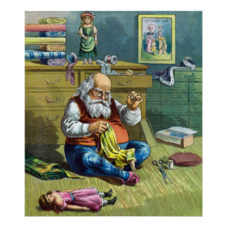 Vintage Christmas, Santa Claus Making Toy Dolls Poster