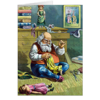 Vintage Christmas, Santa Claus Making Toy Dolls Stationery Note Card