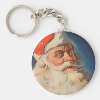 Vintage Christmas, Santa Claus Naughty Nice List Basic Round Button Keychain