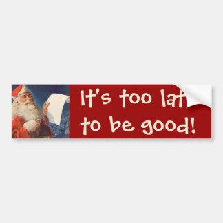 Vintage Christmas, Santa Claus Naughty Nice List Bumper Sticker