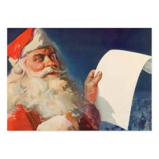 Vintage Christmas, Santa Claus Naughty Nice List Large Business Cards (Pack Of 100)