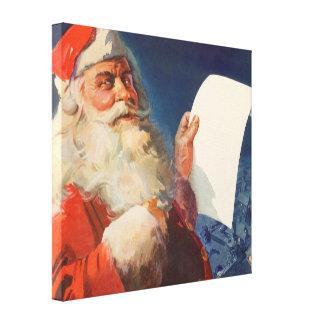 Vintage Christmas, Santa Claus Naughty Nice List Gallery Wrap Canvas