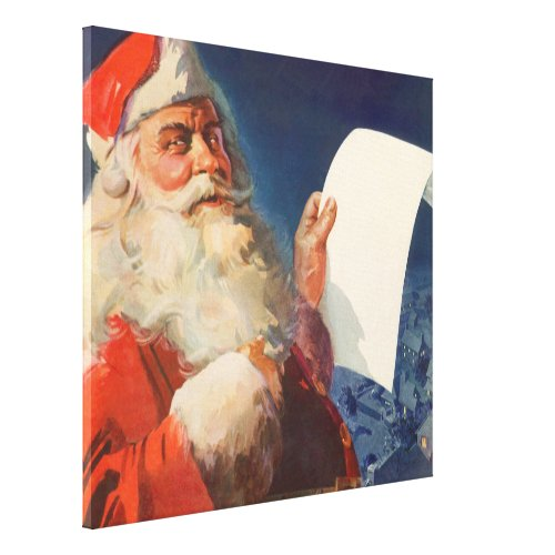 Vintage Christmas, Santa Claus Naughty Nice List Canvas Print