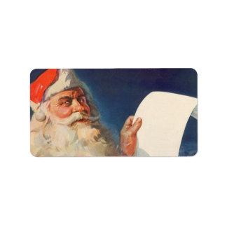 Vintage Christmas, Santa Claus Naughty Nice List Custom Address Labels