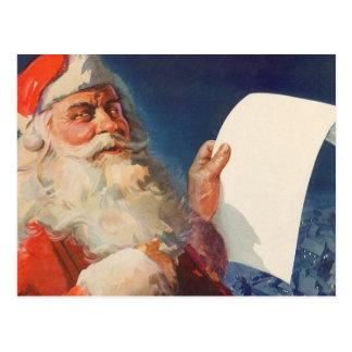 Vintage Christmas, Santa Claus Naughty Nice List Postcard