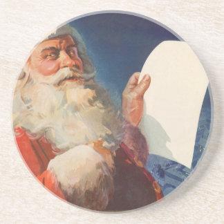 Vintage Christmas, Santa Claus Naughty Nice List Sandstone Coaster