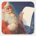 Vintage Christmas, Santa Claus Naughty Nice List Square Sticker