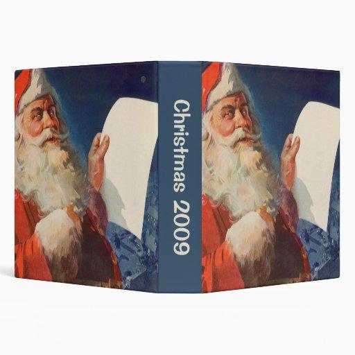 Vintage Christmas, Santa Claus Naughty Nice List Vinyl Binder