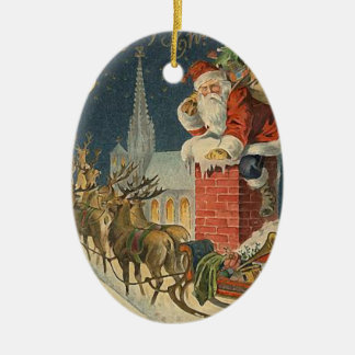 Vintage Christmas Santa Claus on Roof Ceramic Ornament