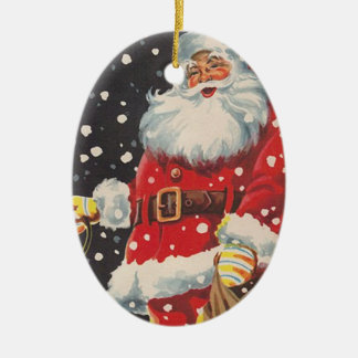 Vintage Christmas Santa Claus Double-Sided Oval Ceramic Christmas Ornament