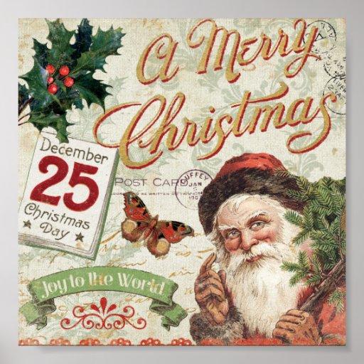 Vintage Christmas Santa Claus Poster Zazzle Com