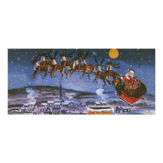 Vintage Christmas, Santa Claus Rack Card Template