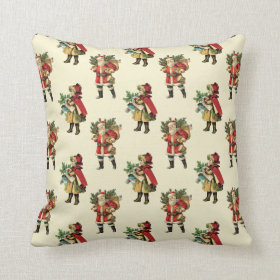 Vintage Christmas Santa Claus Red Beige Polka Dots Throw Pillow