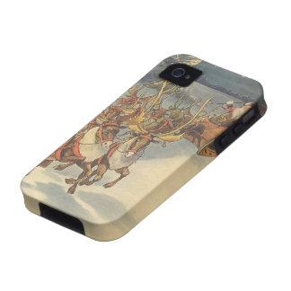Vintage Christmas Santa Claus Reindeer Sleigh Toys Case-Mate iPhone 4 Cases