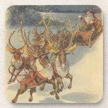 Vintage Christmas Santa Claus Reindeer Sleigh Toys Coaster