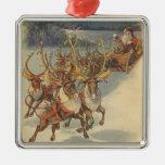 Vintage Christmas Santa Claus Reindeer Sleigh Toys Christmas Ornament