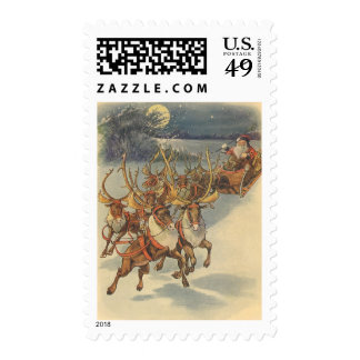 Vintage Christmas Santa Claus Reindeer Sleigh Toys Stamp