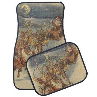 Vintage Christmas Santa Claus Reindeer Sleigh Toys Floor Mat