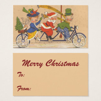 Vintage Christmas, Santa Claus Riding a Bicycle Business Card