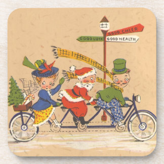 Vintage Christmas, Santa Claus Riding a Bicycle Drink Coaster