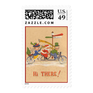 Vintage Christmas, Santa Claus Riding a Bicycle Postage