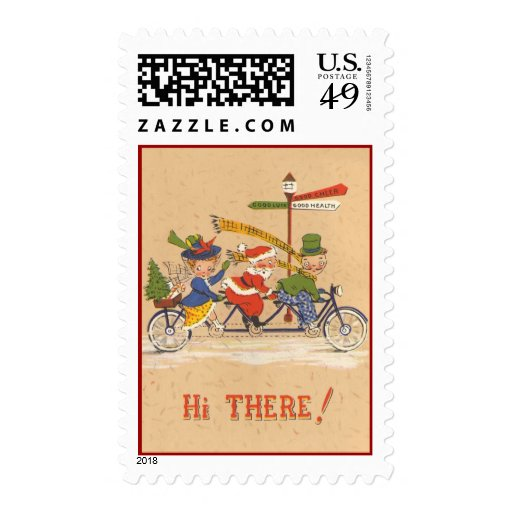 Vintage Christmas, Santa Claus Riding a Bicycle Postage Stamps