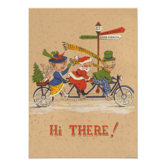 Vintage Christmas, Santa Claus Riding a Bicycle Poster
