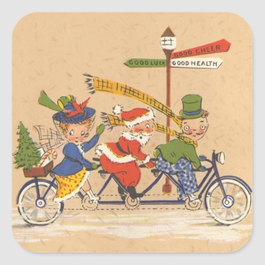 Vintage Christmas, Santa Claus Riding a Bicycle Square Sticker