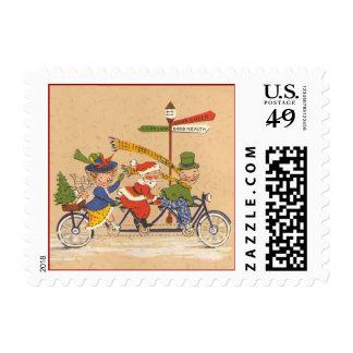 Vintage Christmas, Santa Claus Riding a Bike Stamp