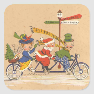 Vintage Christmas, Santa Claus Riding a Bike Stickers