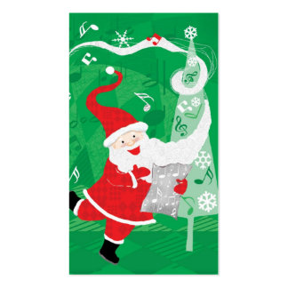 Vintage Christmas, Santa Claus Singing and Dancing Double-Sided Standard Business Cards (Pack Of 100)