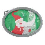 Vintage Christmas, Santa Claus Singing and Dancing Oval Belt Buckle