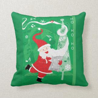 Vintage Christmas, Santa Claus Singing and Dancing Throw Pillow