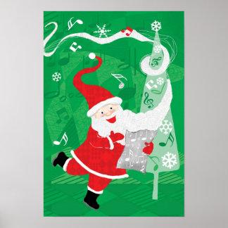 Vintage Christmas, Santa Claus Singing and Dancing Poster