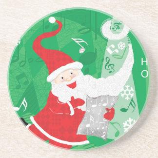 Vintage Christmas, Santa Claus Singing and Dancing Sandstone Coaster