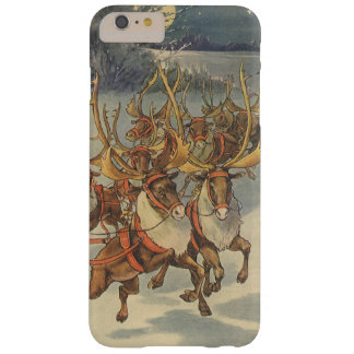 Vintage Christmas Santa Claus Sleigh with Reindeer Barely There iPhone 6 Plus Case