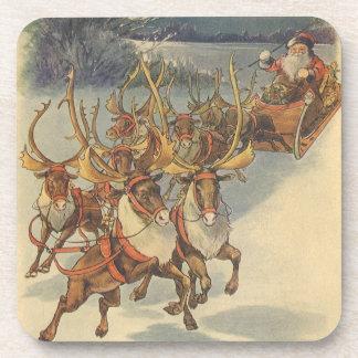 Vintage Christmas Santa Claus Sleigh with Reindeer Beverage Coaster