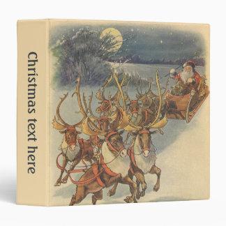 Vintage Christmas Santa Claus Sleigh with Reindeer Binder