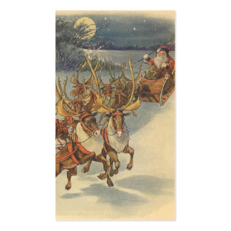 Vintage Christmas Santa Claus Sleigh with Reindeer Double-Sided Standard Business Cards (Pack Of 100)