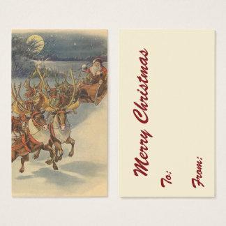 Vintage Christmas Santa Claus Sleigh with Reindeer Business Card
