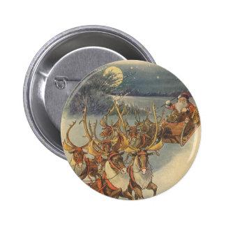 Vintage Christmas Santa Claus Sleigh with Reindeer Button