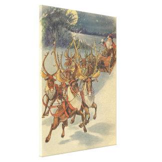 Vintage Christmas Santa Claus Sleigh with Reindeer Canvas Print