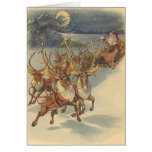 Vintage Christmas Santa Claus Sleigh with Reindeer Card