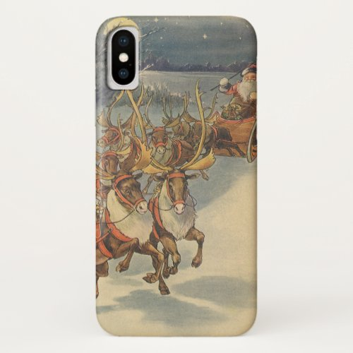 Vintage Christmas Santa Claus Sleigh with Reindeer iPhone XS Case