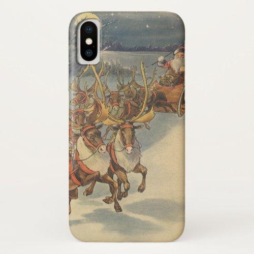 Vintage Christmas Santa Claus Sleigh with Reindeer iPhone X Case