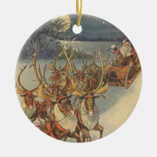 Vintage Christmas Santa Claus Sleigh with Reindeer Ceramic Ornament