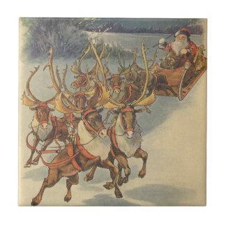 Vintage Christmas Santa Claus Sleigh with Reindeer Ceramic Tile