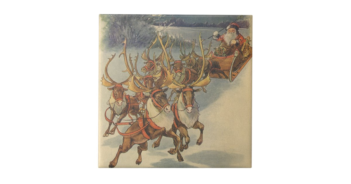 Vintage Christmas Santa Claus Sleigh With Reindeer Ceramic