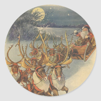 Vintage Christmas Santa Claus Sleigh with Reindeer Classic Round Sticker