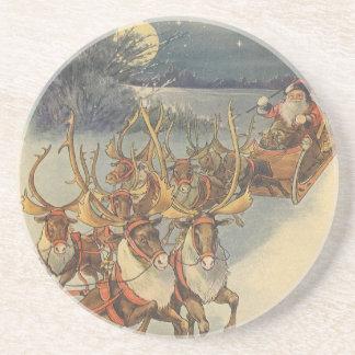 Vintage Christmas Santa Claus Sleigh with Reindeer Coaster